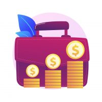 Financial benefit. Businessman cartoon character with big briefcase earning money, getting revenue. Profit, income, earnings. Capital gain process. Vector isolated concept metaphor illustration